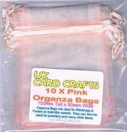 10 x Pink Organza Bags - 10cm x 8cm - Weddings, Parties